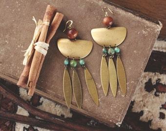 Golden Tribal Dangle Earrings
