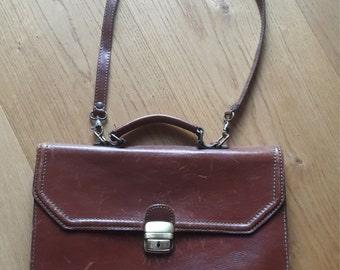 Distressed dark brown leather briefcase satchel messenger bag