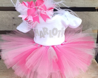 Tutu Diaper Cake, Diaper Cake, Girl Baby Shower Gift, Baby Shower Centerpiece, Take Home Outfit, Tutu, Pink and Gray, Elephant, Gray Chevron