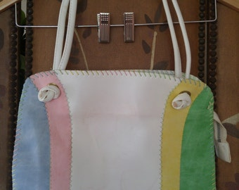 80s Pastel faux leather hand bag