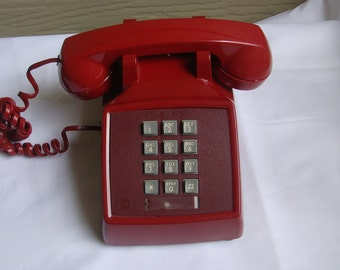 Vintage Western Electric Bell System 2500DM Red Push-Button Telephone