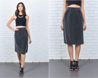 Vintage 70s Gray Velvet Skirt Mod HIgh Waist A Line Knee Length XXS 7414 vintage skirt 70s skirt gray skirt high waist skirt xxs skirt