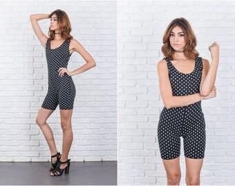 Vintage 90s Black + White Polka Dot Romper Jumpsuit Stretch sleeveless XS 7714 vintage romper black romper white romper xs romper vtg romper
