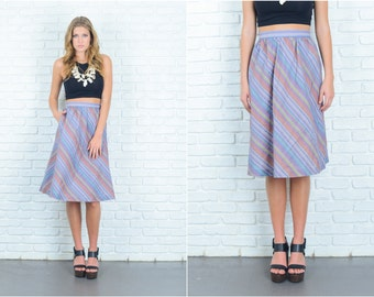 Vintage 70s Striped Skirt A-Line High Waist Mod Pink Purple Small S 6756