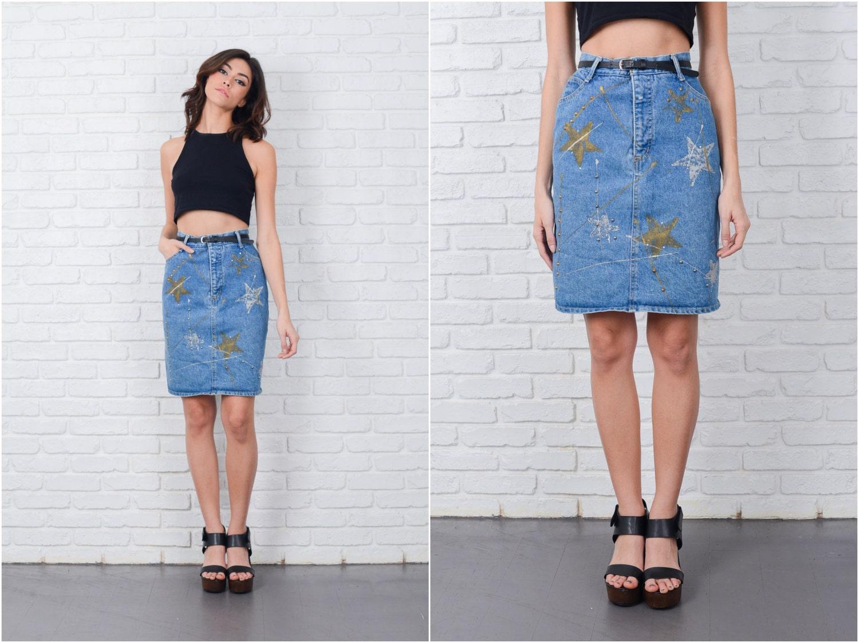 vintage 90s denim blue jean skirt painted studded mini