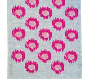 Neon magenta and blush Ikat spot linen Tea Towel