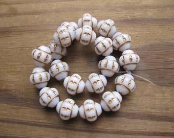 Opaque White with Etched Gold Lantern Beads Czech Pressed Glass 9mm New (20)