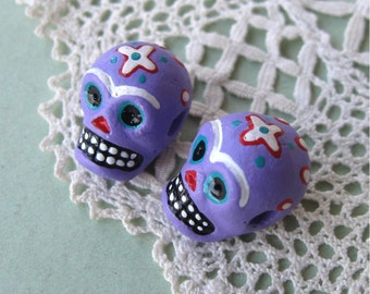 Day of the Dead Skull Beads Purple Peru Handpainted Ceramic Horizontal Hole (2)