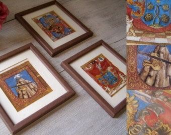 Mythic Framed illustrations, Vintage Fantasy Mythological Art Prints, Picture Collage, Halloween Wall Decor, Man Cave Gift, Library Wall Art