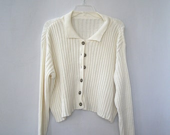 Vintage 80s Off White Short Slouchy Sweater Cardigan, Acrylic Wool Plus Size Soft Casual Oversize Buttoned Sweater, Sustainable Eco Clothing