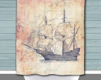 Rockport Shower Curtain: Shipbuilding Rockport Mass Vintage Map | Made in the USA | 12 Hole Fabric Bathroom Decor