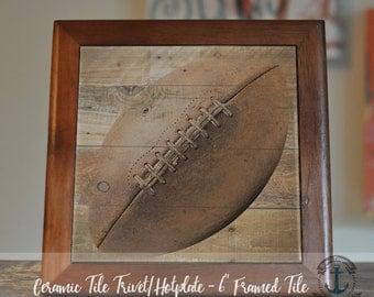 "Trivet Hot Plate: Vintage Football   Wood Grain Look Sports Decor   6"" Ceramic Tile Trivet Kitchen Accessory"