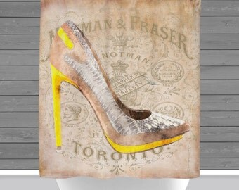 High Heel Shower Curtain: Shoe Fashion French Inspired | Made in the USA | 12 Hole Fabric Bathroom Decor