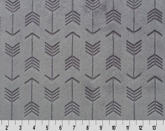 MINKY - Graphite Embossed Arrows Cuddle from Shannon Fabrics - Choose Your Cut