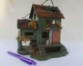 Birdhouse, Vintage Decorative Bed and Breakfast, Feathered Friends, Bird House, Green Gray Brown Orange, Patio Yard Deck Garden Art