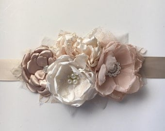 Bridal Sash - Vintage Style Flower Sash - Ivory, Champange, Cream, and Nude - Maternity Sash, Fabric Flower Sash, Wedding Sash, Ribbon Sash