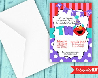 Girls Elmo 1st or 2nd Birthday Invitation - personalized digital file - with or without photo - red, purple, aqua blue - printed available