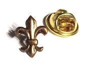 Brass Fleur De Lis Accessory- Men's Tie Tack OR Unisex Pin, Handcrafted Heraldry Insignia Royal Status Gift for Him / Her