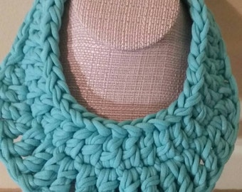 Turquoise Crochet Statement Necklace, T-shirt Yarn