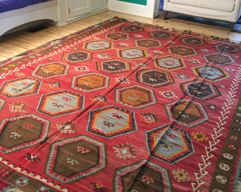 "Handsome Vintage Turkish Kilim 8'6"" x 11'0"""