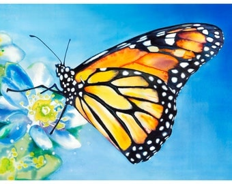 "5x7"" Monarch Butterfly Watercolor Giclee Fine Art Print [Watercolor Monarch Print, Butterfly Painting, Butterfly Art, Watercolor Art]"