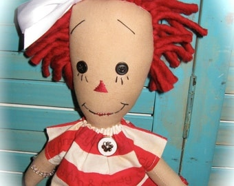 Primitive Raggedy Doll with Vintage Tin Tea Cup OOAK