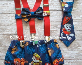 Paw Patrol Birthday cake smash outfit fireman costume suspenders Marshall Blue diaper cover tie optional Hat 12 18 24 toddler