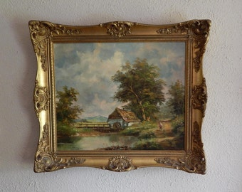 Baroque European Style Landscape Painting Art Oil/Canvas (Signed) Berger Framed Home Decor