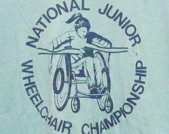 Vintage 80s National Junior Wheelchair Champions Blue T-shirt
