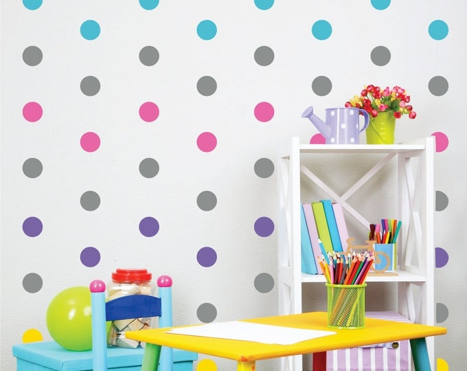 Polka Dot Wall Decals // Peel and Stick Dots // Nursery Wall Decals // Polka Dot Stickers // Playroom Art // Bedroom Wall Stickers