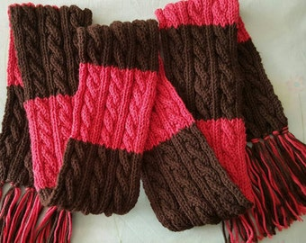 Hand knit Reversible cables 'n' stripes scarf