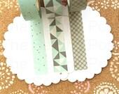 Washi Tape Set: Mint Grey