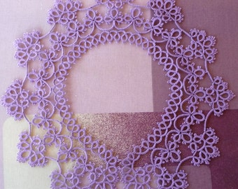 Handmade Collar - lilac collar - lace collar - feminine accessories - elegant collar - vintage style - tatting - for woman - crochet collar