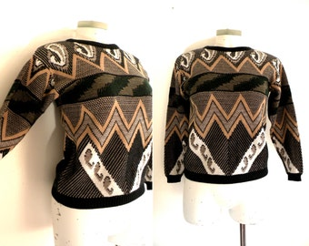 80s Chevron Green and Tan Ugly Sweater - XS S