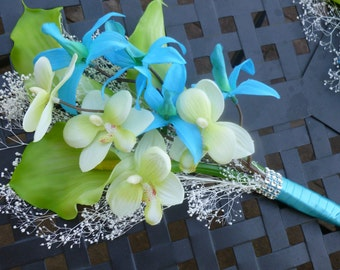 Blue green beach wedding bouquet, small bouquet, green callas, aqua blue orchid, baby's breath, bridesmaid bouquet