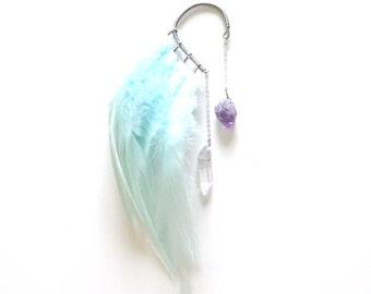 Feather Ear Cuff, Festival Wear, Festival Earrings, Ear Cuff, Feather Earrings, Crystals, OOAK