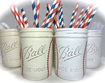 Hand Painted Baseball Wedding Decor. Baseball Utensil Holder. Baseball Wedding. Baseball Party Decor. Baseball Groomsmen Gift. Mason Jars