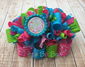 Fish Like a Girl Funky Loopy Bow with Bling Bottle Cap Embellishment