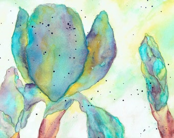 Watercolor Print, Irises 3, Wall Decor
