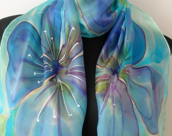 Blue painted silk scarf. Flowers scarf. Hand painted floral silk scarf. Art scarf. Estonian painting.