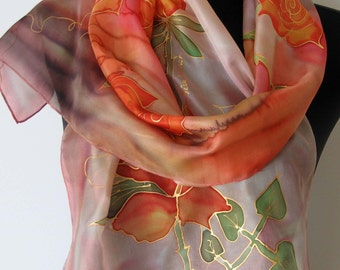 Orange roses scarf. Hand painted scarf. Silk scarf. Feminine silk scarf. Floral scarf. Art scarf.