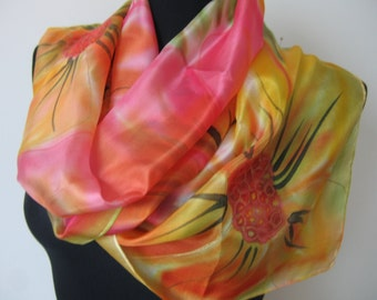 Floral silk scarf. Red yellow and orange flowers. Hand painted scarf. Light green leaves.  Painted silk scarf. Art silk scarf.