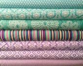 Fat Quarter Fabric bundle for quilt or craft Michael Miller Purple and Aqua bundle 7 Fat Quarters