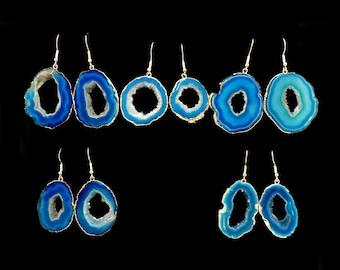 Blue Agate Slice Pair of Earrings Electroplated Gold Plated Earwires (S73B12-02)