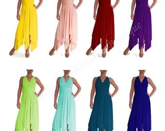 ORCHIDEA Dress with uneven hem Bridesmaids Dresses Convertible Infinity Wrap Chameleon Maxi plus size maternity