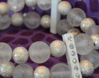 White double strand beaded bracelet