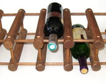 Richard Nissen Langaa Denmark 10 Bottle Teak Wood Wine Rack - Vintage Danish Modern Bottle Holder