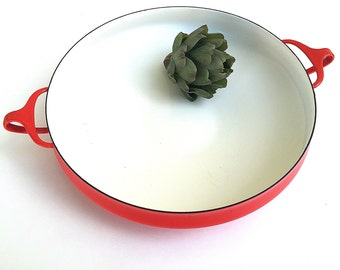 DANSK KOBENSTYLE Extra-Large Buffet Paella Pan | Red Enamel Round Dish | Vintage Jens Quistgaard | 1950s Early Four Ducks Mark Denmark |