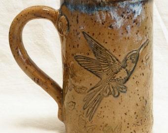 ceramic hummingbird mug 16oz stoneware 16A089