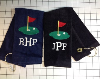 Monogrammed golf towels, best selling golf towel, putting green, golf gift